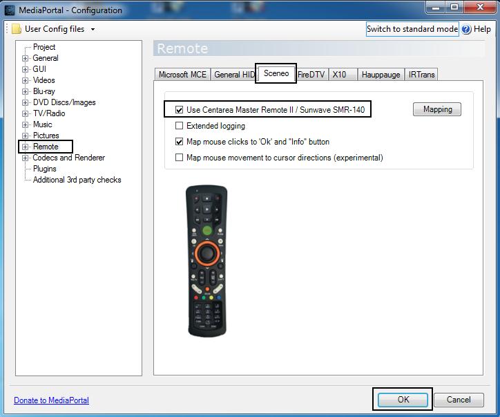 Hama-MCE-Remote-Einstellung